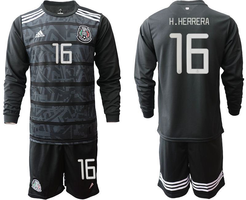 Men 2019-2020 Season National Team Mexico home long sleeve 16 black Soccer Jerseys