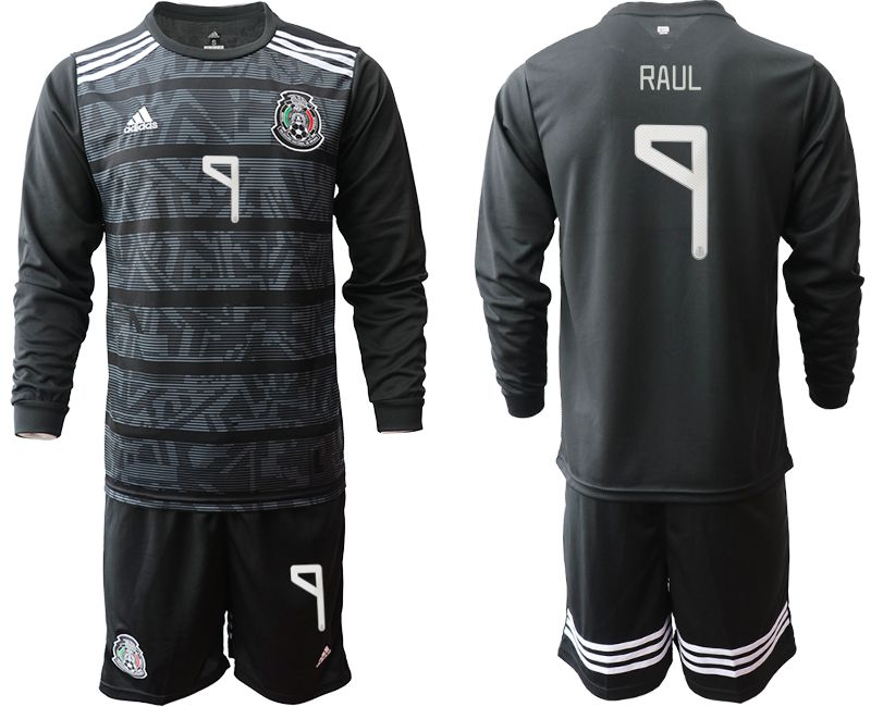 Men 2019-2020 Season National Team Mexico home long sleeve 9 black Soccer Jerseys