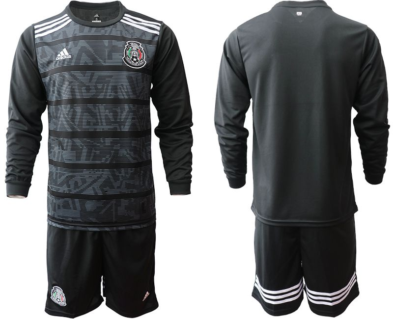 Men 2019-2020 Season National Team Mexico home long sleeve black Soccer Jerseys