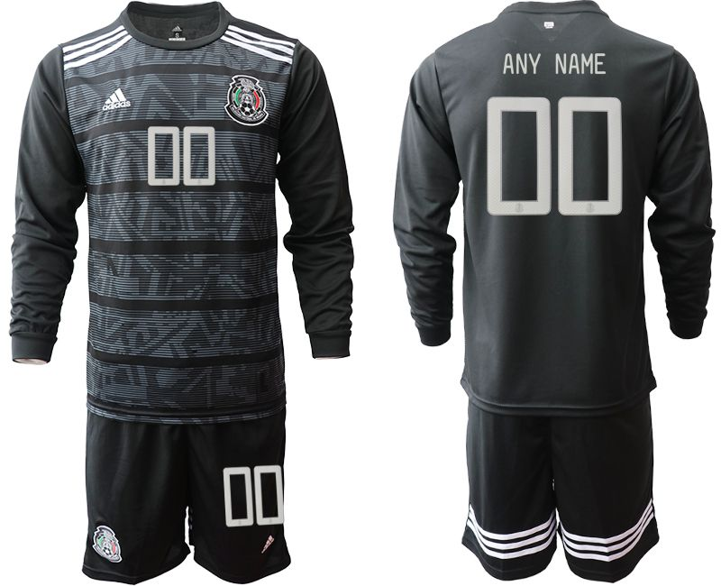 Men 2019-2020 Season National Team Mexico home long sleeve customized black Soccer Jerseys