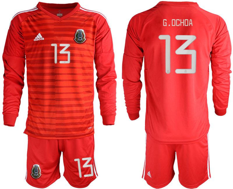 Men 2019-2020 Season National Team Mexico red goalkeeper long sleeve 13 Soccer Jerseys