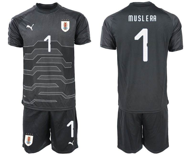 Men 2019-2020 Season National Team Uruguay black goalkeeper 1 Soccer Jerseys