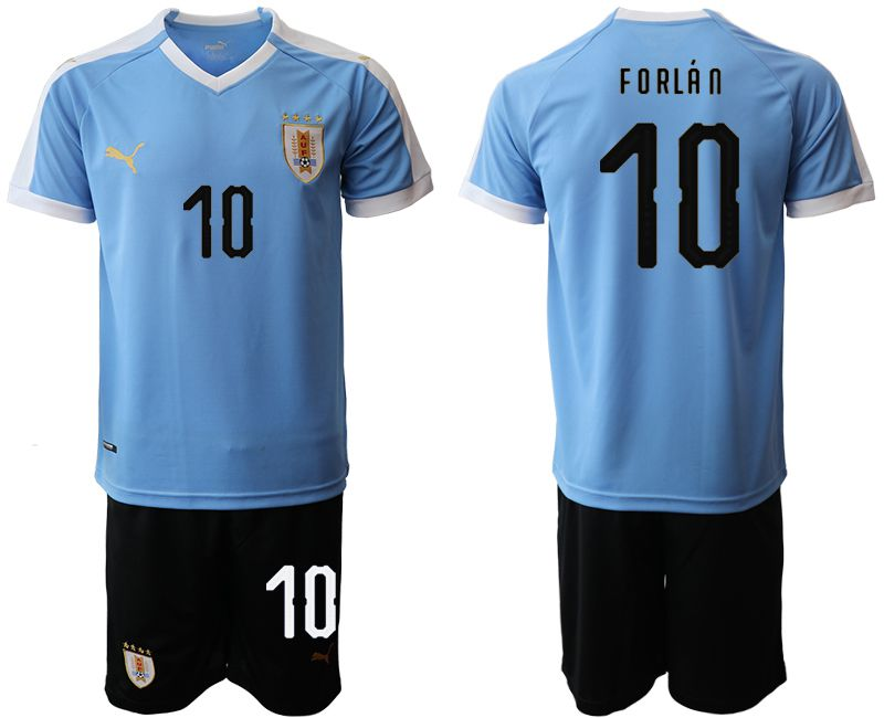 Men 2019-2020 Season National Team Uruguay home 10 blue Soccer Jerseys