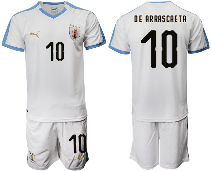 Men 2019-2020 Season National Team Uruguay home 10 white Soccer Jerseys