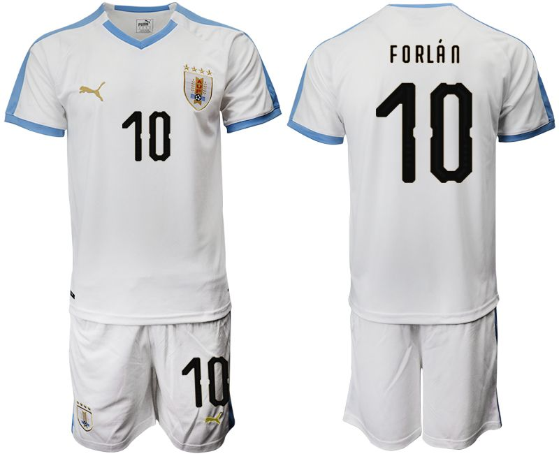 Men 2019-2020 Season National Team Uruguay home 10 white Soccer Jerseys1