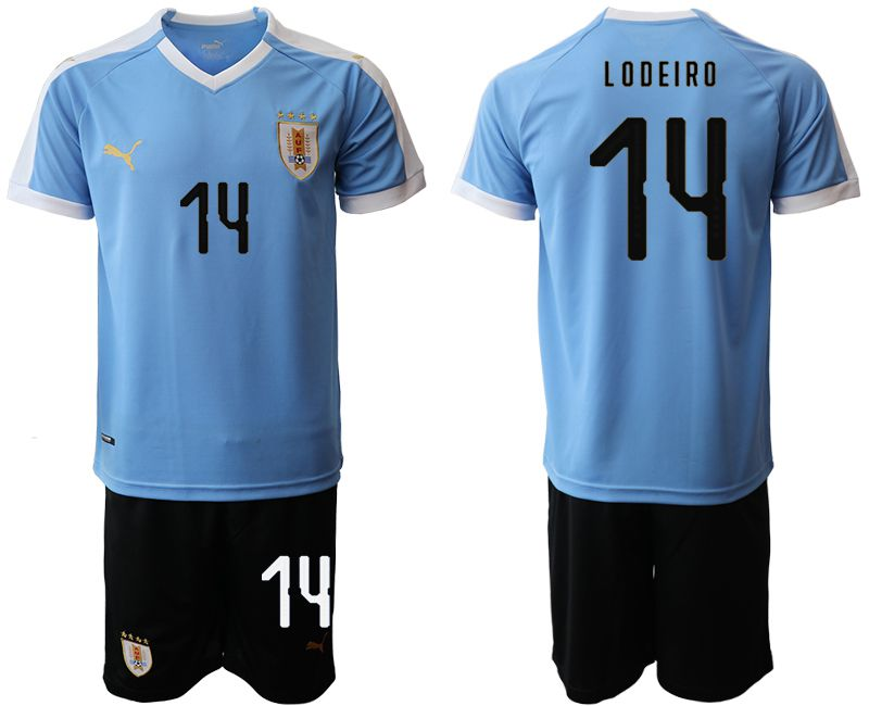 Men 2019-2020 Season National Team Uruguay home 14 blue Soccer Jerseys