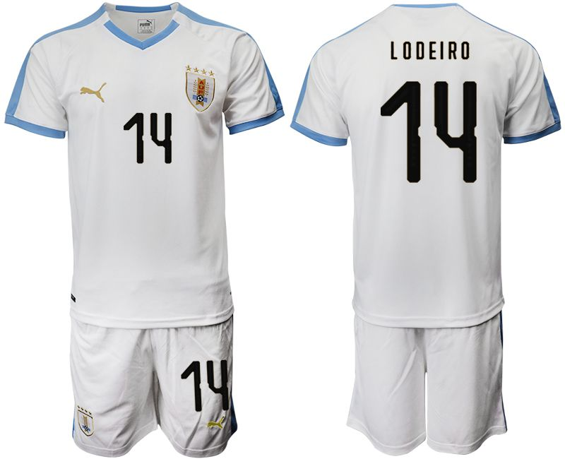 Men 2019-2020 Season National Team Uruguay home 14 white Soccer Jerseys