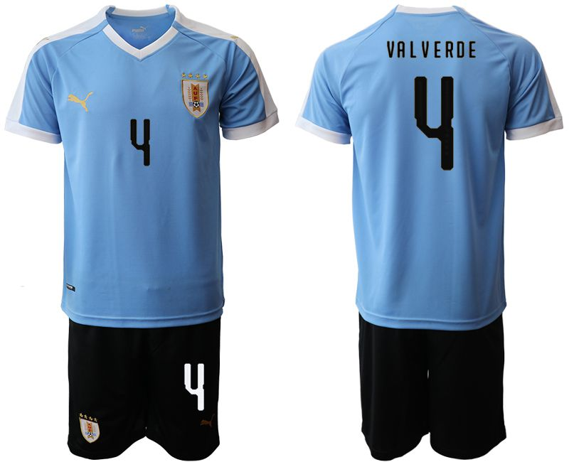 Men 2019-2020 Season National Team Uruguay home 4 blue Soccer Jerseys