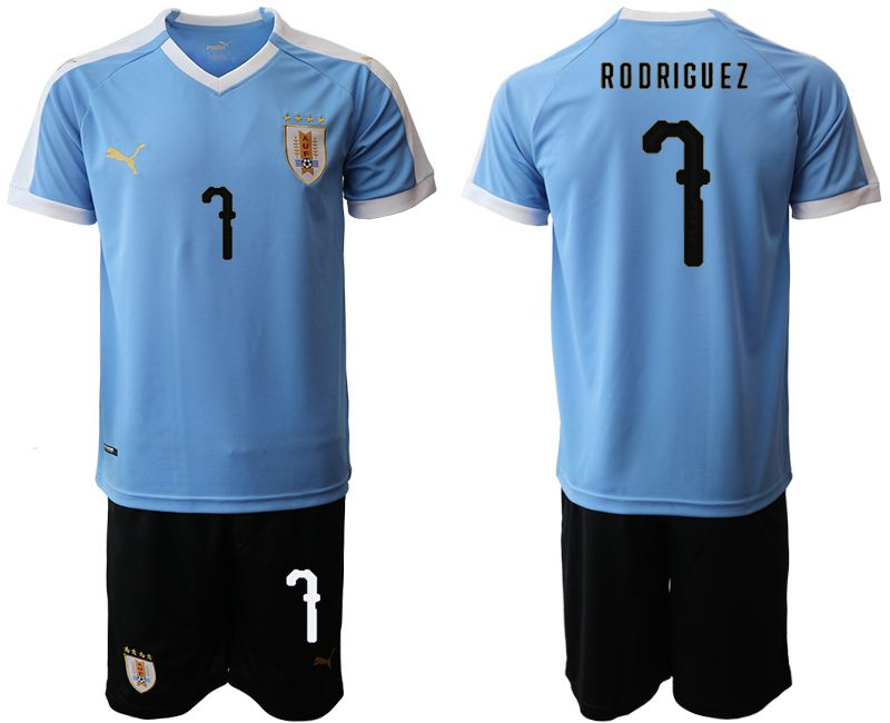 Men 2019-2020 Season National Team Uruguay home 7 blue Soccer Jerseys