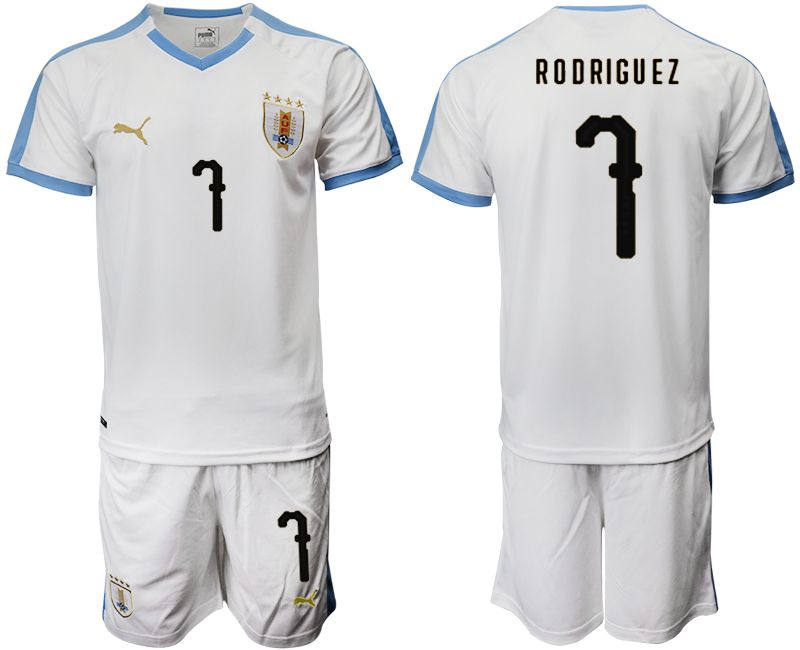 Men 2019-2020 Season National Team Uruguay home 7 white Soccer Jerseys