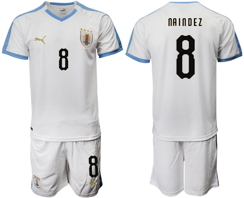 Men 2019-2020 Season National Team Uruguay home 8 white Soccer Jerseys