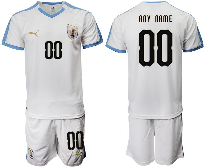 Men 2019-2020 Season National Team Uruguay home customized white Soccer Jerseys