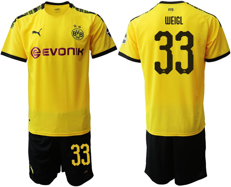Men 2019-2020 club Dortmund home 33 yellow Soccer Jerseys