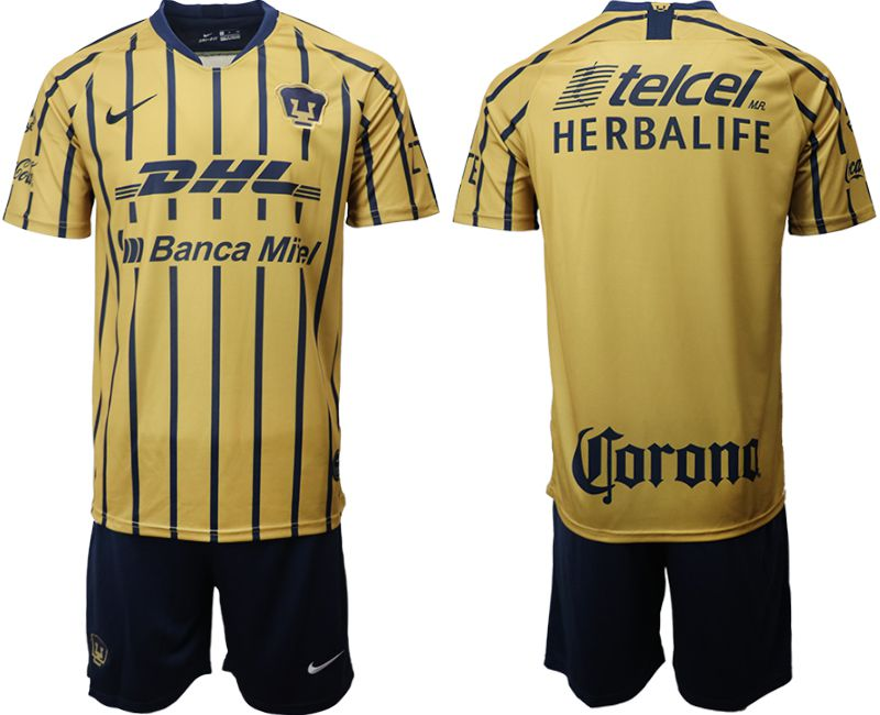 Men 2019-2020 club Pumas UNAM away yellow Soccer Jerseys