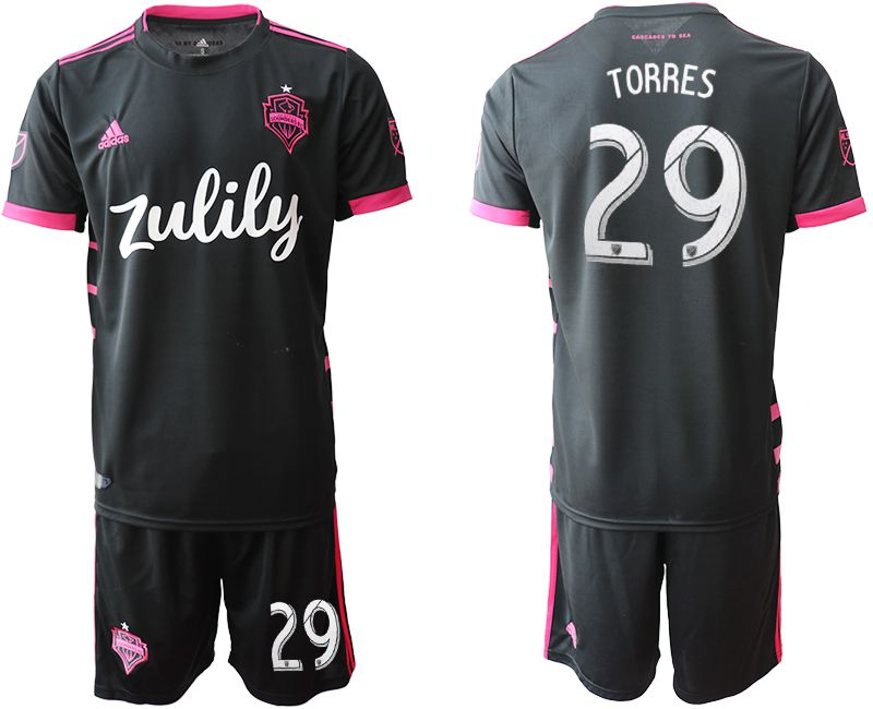 Men 2019-2020 club Seattle Sounders away 29 black Soccer Jerseys