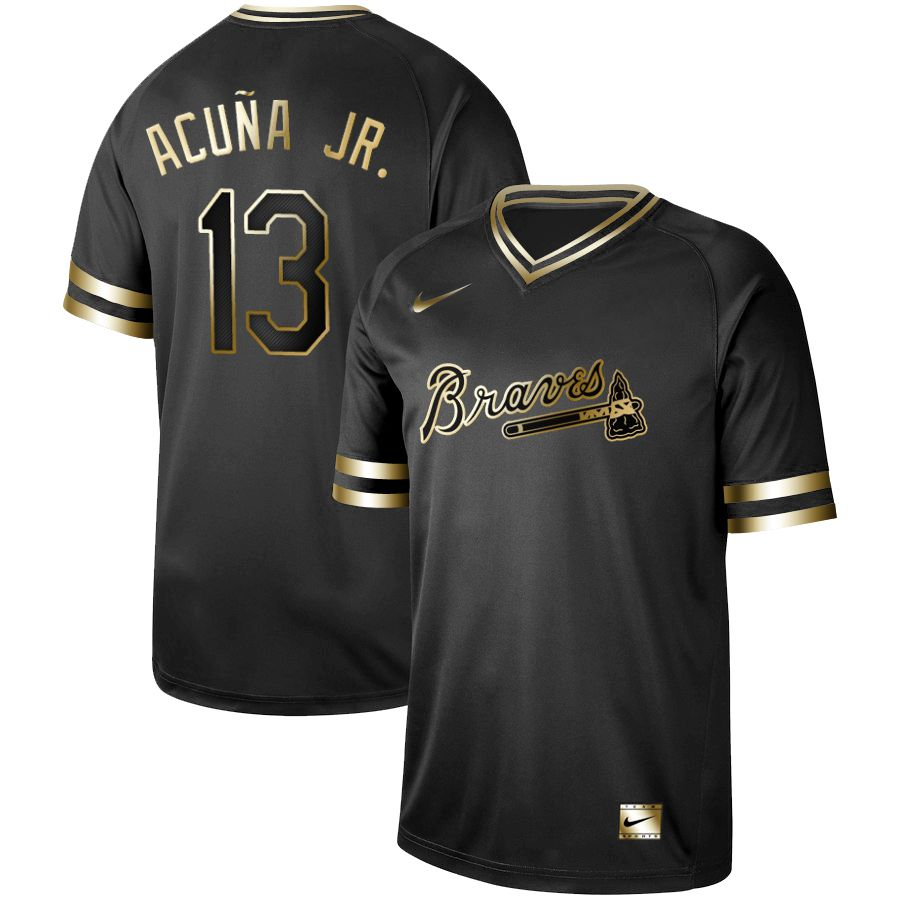 Men Atlanta Braves 13 Acuna jr Nike Black Gold MLB Jerseys