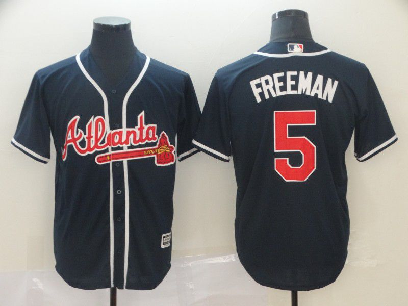 Men Atlanta Braves 5 Freeman Blue Game MLB Jerseys