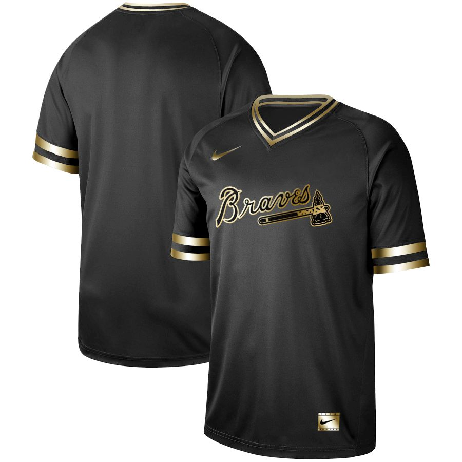 Men Atlanta Braves Blank Nike Black Gold MLB Jerseys