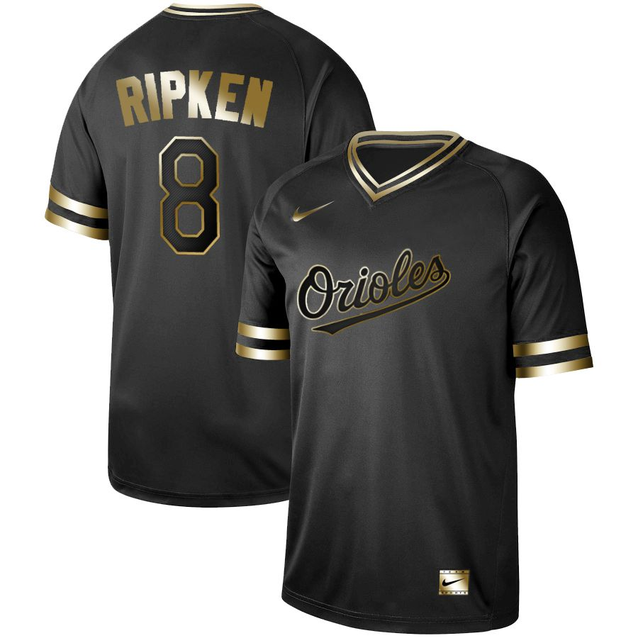 8881c2eb478 Men Baltimore Orioles 8 Ripken Nike Black Gold MLB Jerseys
