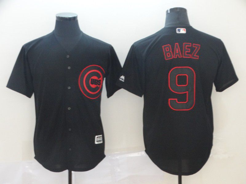 Men Chicago Cubs 9 Baez Black MLB Jerseys
