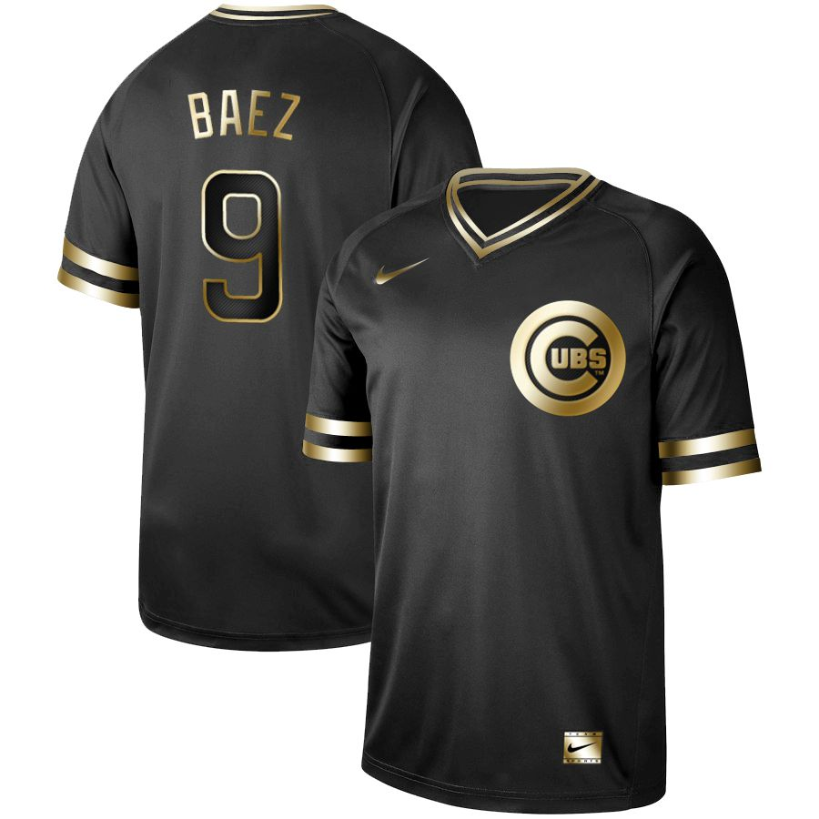 Men Chicago Cubs 9 Baez Nike Black Gold MLB Jerseys