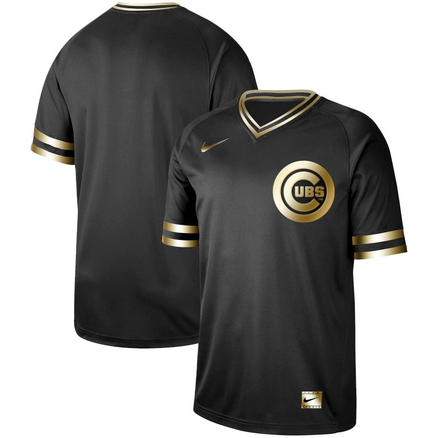 Men Chicago Cubs Blank Nike Black Gold MLB Jerseys