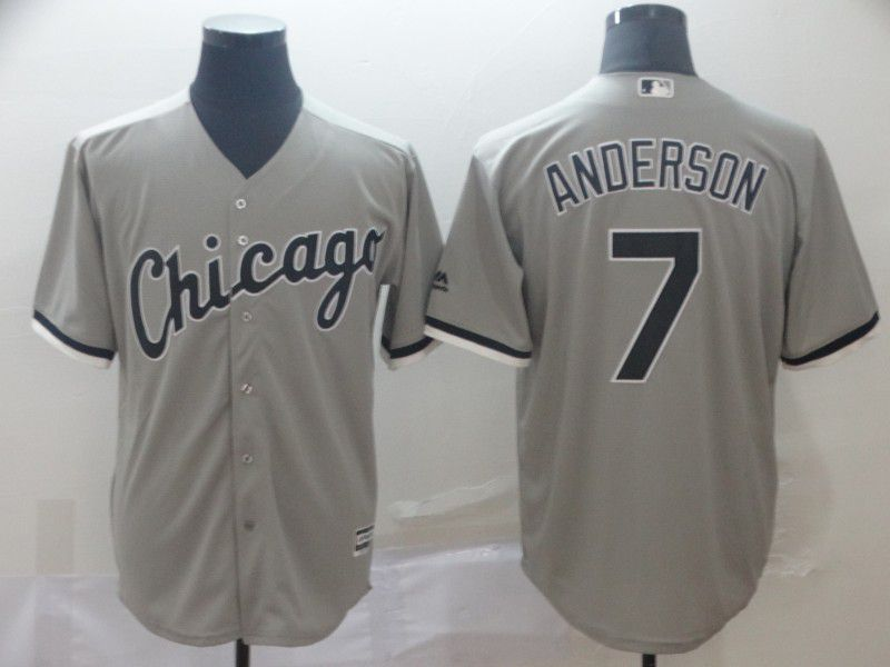 Men Chicago White Sox 7 Anderson Grey Game MLB Jersey
