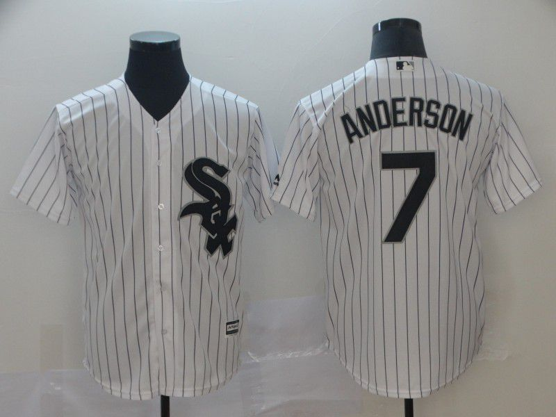 Men Chicago White Sox 7 Anderson White Game MLB Jersey