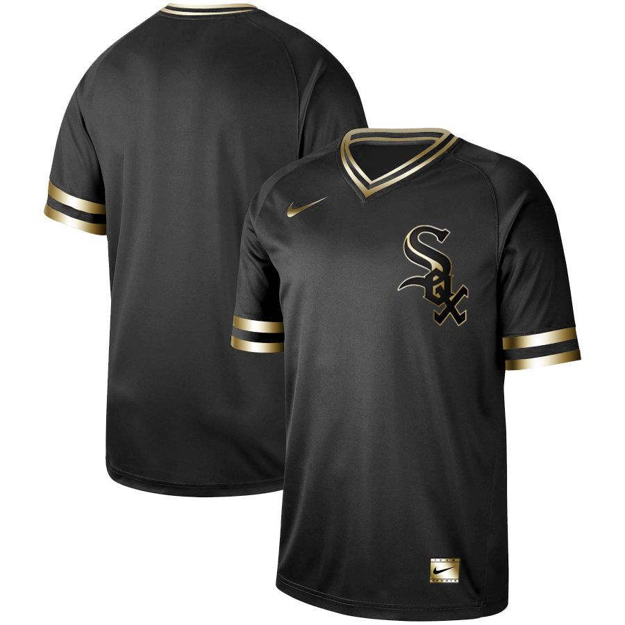 Men Chicago White Sox Blank Nike Black Gold MLB Jerseys
