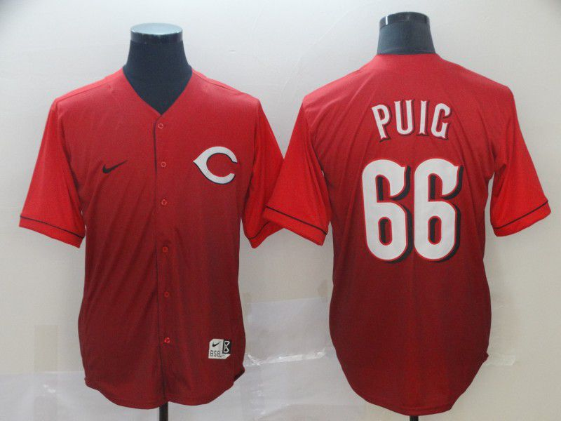 Men Cincinnati Reds 66 Puig Red Nike Fade MLB Jersey