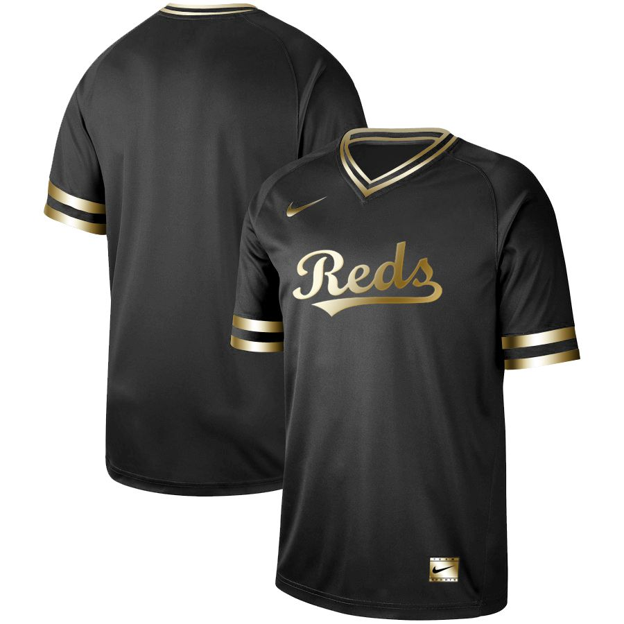 Men Cincinnati Reds Blank Nike Black Gold MLB Jerseys