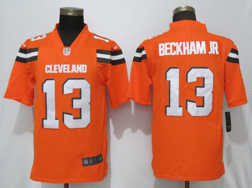 Men Cleveland Browns 13 Beckham jr Orange Nike Vapor Untouchable Limited Player NFL Jerseys