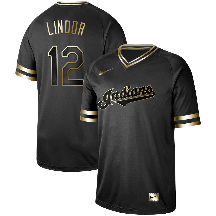 Men Cleveland Indians 12 Lindor Nike Black Gold MLB Jerseys