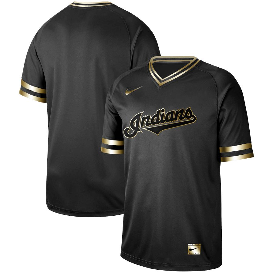 Men Cleveland Indians Blank Nike Black Gold MLB Jerseys