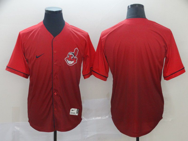 Men Cleveland Indians Blank Red Nike Fade MLB Jersey