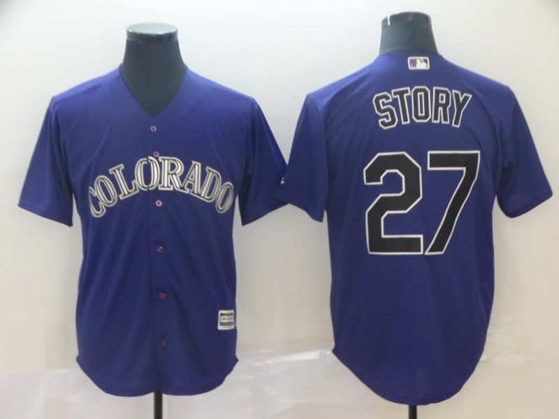 Men Colorado Rockies 27 Story Purple GameMLB Jerseys