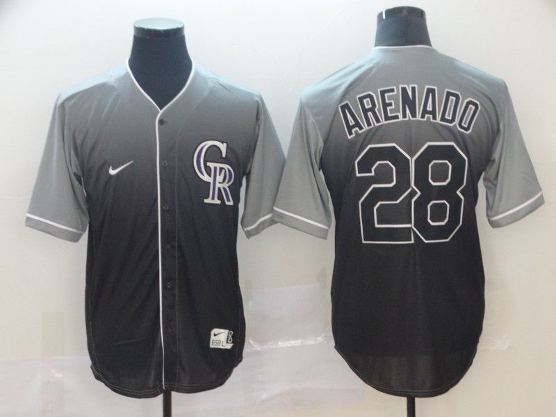 Men Colorado Rockies 28 Arenado Grey Nike Fade MLB Jersey