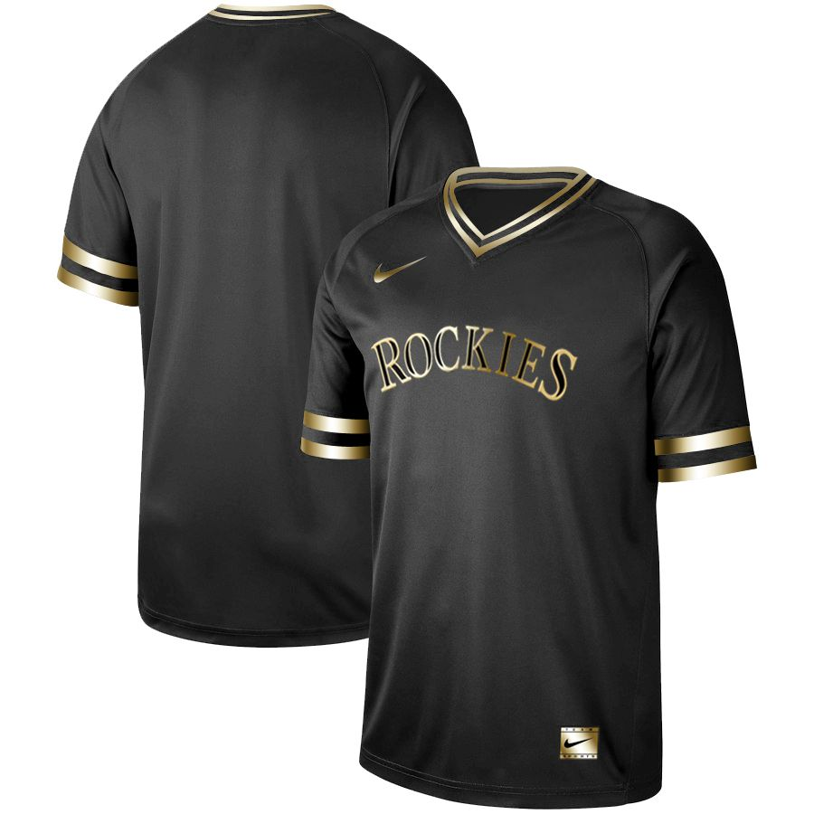 Men Colorado Rockies Blank Nike Black Gold MLB Jerseys
