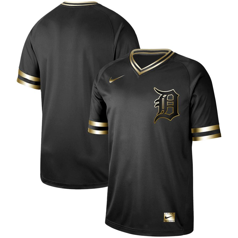Men Detroit Tigers Blank Nike Black Gold MLB Jerseys