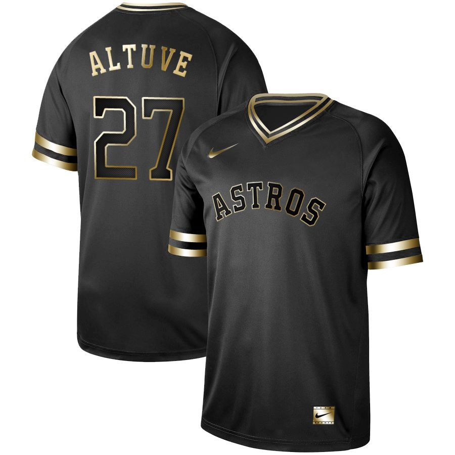 Men Houston Astros 27 Altuve Nike Black Gold MLB Jerseys