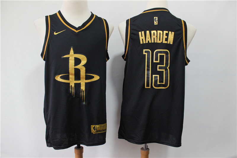 Men Houston Rockets 13 Harden Black golden limited NBA Nike Jerseys