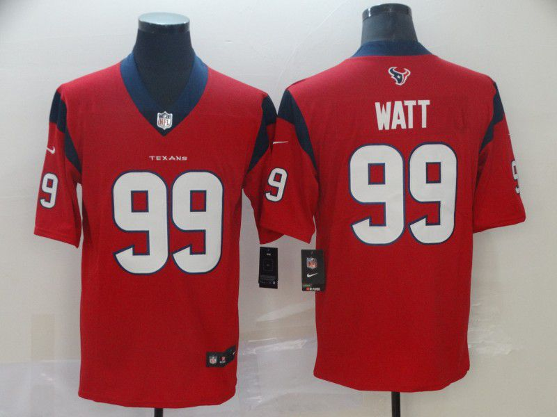 Men Houston Texans 99 Watt Red Nike Vapor Untouchable Limited Player NFL Jerseys