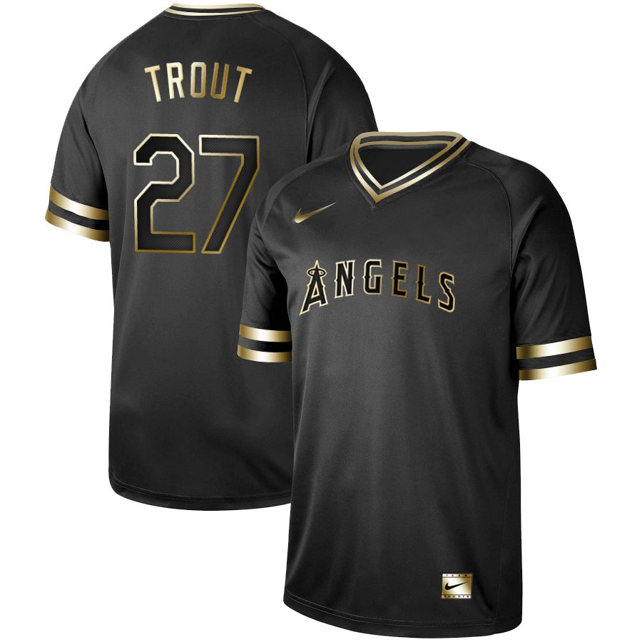 Men Los Angeles Angels 27 Trout Nike Black Gold MLB Jerseys