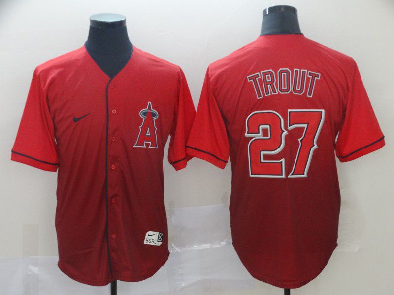 Men Los Angeles Angels 27 Trout Red Nike Fade MLB Jersey