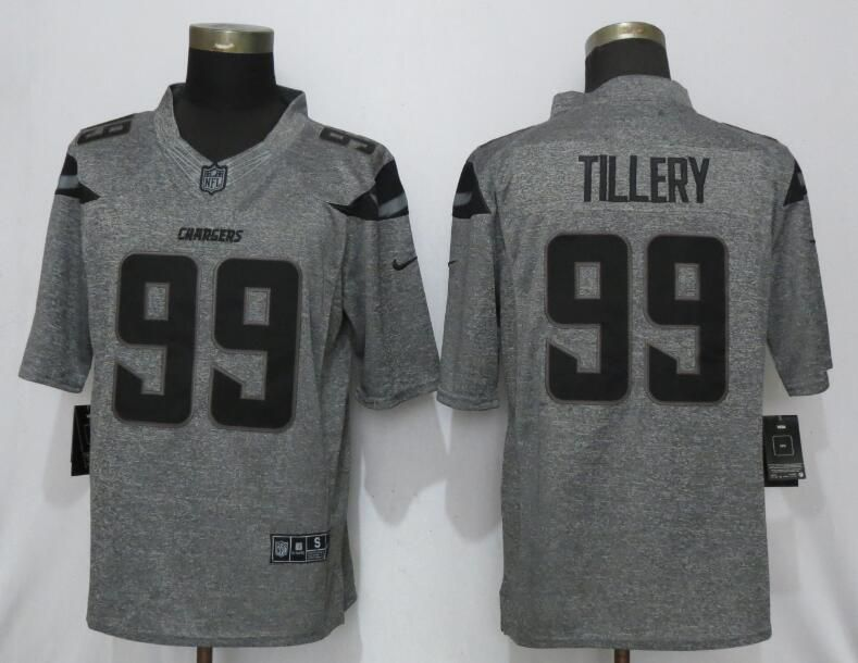 Men Los Angeles Chargers 99 Tillery Gray Stitched Gridiron Nike Limited NFL Jerseys