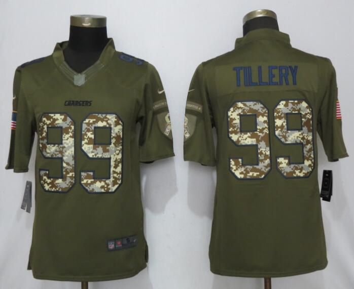 Men Los Angeles Chargers 99 Tillery Green Salute To Service Nike Limited NFL Jerseys