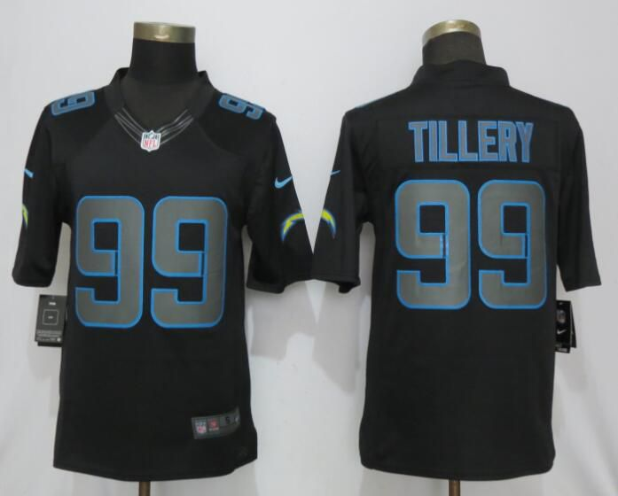 Men Los Angeles Chargers 99 Tillery Impact Limited Black Nike Limited NFL Jerseys