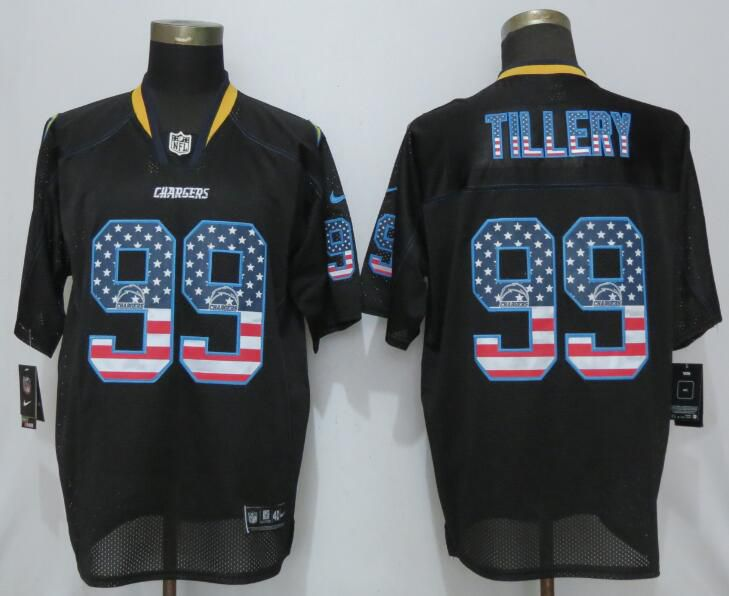 Men Los Angeles Chargers 99 Tillery USA Flag Fashion Black Nike Elite NFL Jerseys