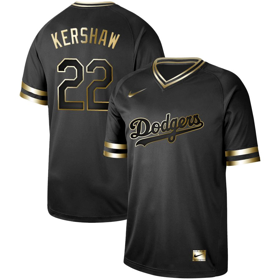 Men Los Angeles Dodgers 22 Kershaw Nike Black Gold MLB Jerseys