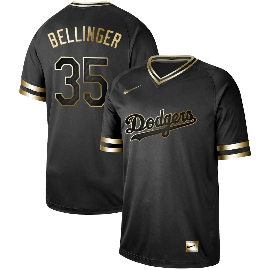Men Los Angeles Dodgers 35 Bellinger Nike Black Gold MLB Jerseys